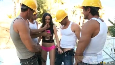 construction workers tag team a big booty hailey young